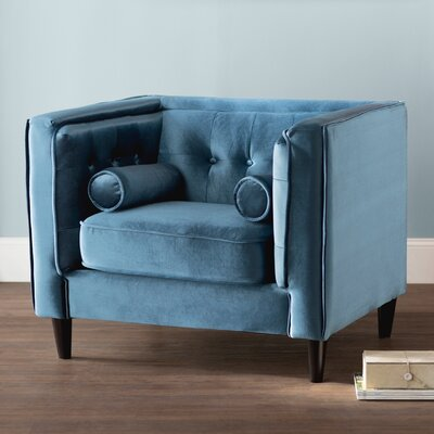 Roberta Velvet Club Chair Upholstery: Light Blue