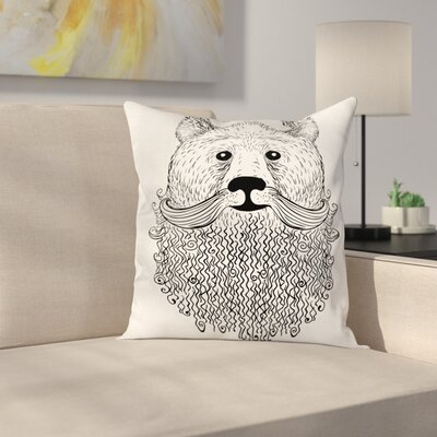 Doodle Bear with Beard Square Cushion Pillow Cover Size: 18 x 18