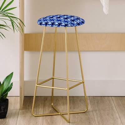Wagner Campelo Shibori Tribal Indigo 31 Bar Stool