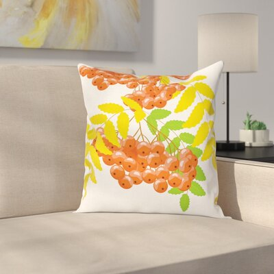 Juicy Fruits and Leafage Square Pillow Cover Size: 18 x 18