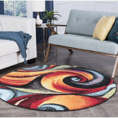 Weisman Red/Blue Area Rug Rug Size: Round 6
