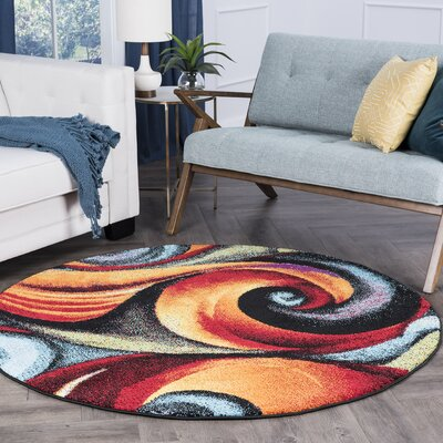 Weisman Red/Blue Area Rug Rug Size: Round 8