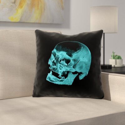 Skull Outdoor Throw Pillow Color: Blue/Black, Size: 16 x 16