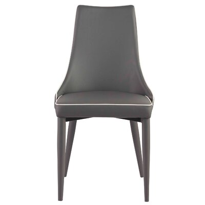 Gamez Upholstered Dining Chair Upholstery: Leatherette Dark Gray