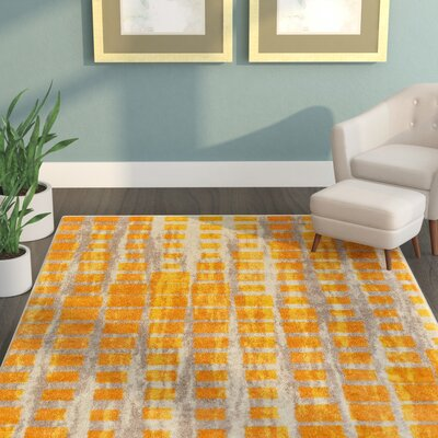 Angie Mid-Century Modern Yellow Area Rug Rug Size: 53 x 73