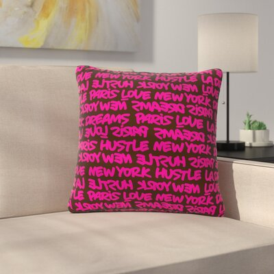Just L Lux Writing Urban Typography Outdoor Throw Pillow Color: Pink/Brown, Size: 16 H x 16 W x 5 D