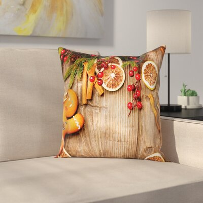 Gingerbread Man Rustic Theme Square Pillow Cover Size: 16 x 16