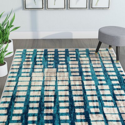 Angie Mid-Century Modern Blue Area Rug Rug Size: 53 x 73