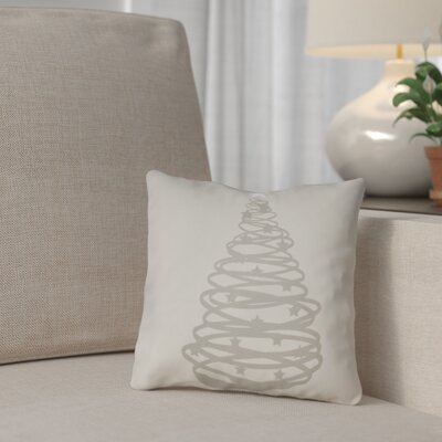 Winter Tree Outdoor Throw Pillow Size: 18 H x 18 W x 4 D, Color: Gray / White