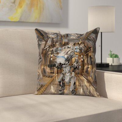 Fabric Case Battle Robot Weapons Square Pillow Cover Size: 24 x 24