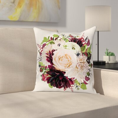 Anemone Floral Wreath Square Cushion Pillow Cover Size: 24 x 24
