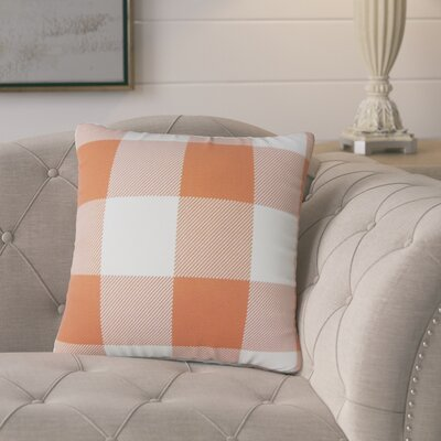 Pompa Plaid Cotton Throw Pillow Color: Orange