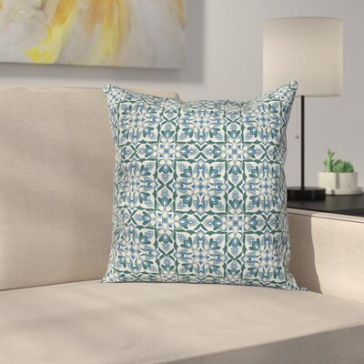 Stylized Floral Motifs Cushion Pillow Cover Size: 16 x 16