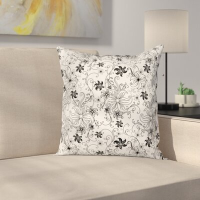 Modern Floral Graphic Print Square Pillow Cover Size: 16 x 16