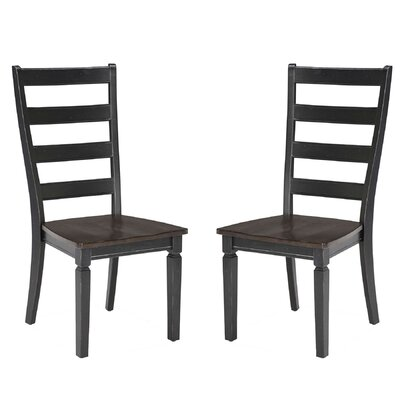 Marchan Solid Wood Dining Chair (Set of 2) Color: Black