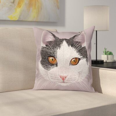 Pet Cat Kitty Portrait Cushion Pillow Cover Size: 16 x 16
