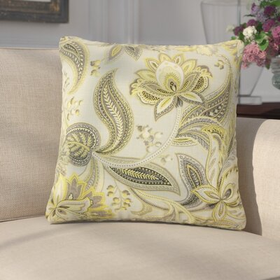 Franz Floral Linen Throw Pillow Color: Gold/Silver