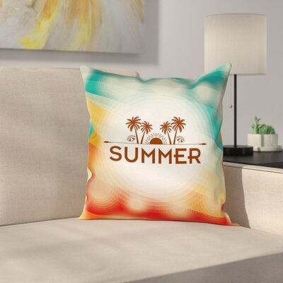 Palm Tree Sun Holiday Cushion Pillow Cover Size: 18 x 18