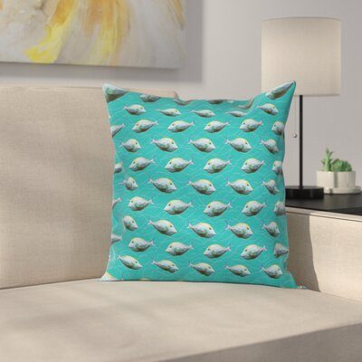 Fish Nautical Animal Art Square Pillow Cover Size: 16 x 16