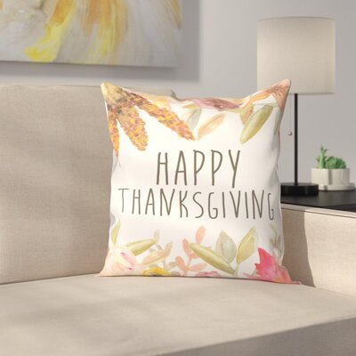 Jetty Printables Happy Thanksgiving Festive Throw Pillow Size: 18 x 18