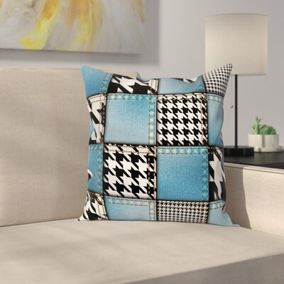 Zebra Decor Denim Patchwork Square Pillow Cover Size: 20 x 20
