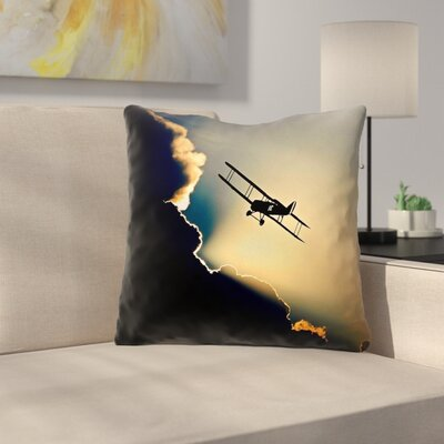 Plane in the Clouds Square Linen Throw Pillow Size: 20 x 20