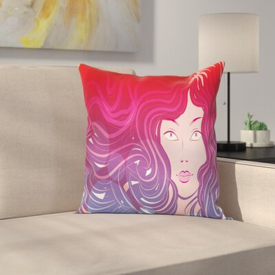 Modern Girls Face Pillow Cover Size: 16 x 16