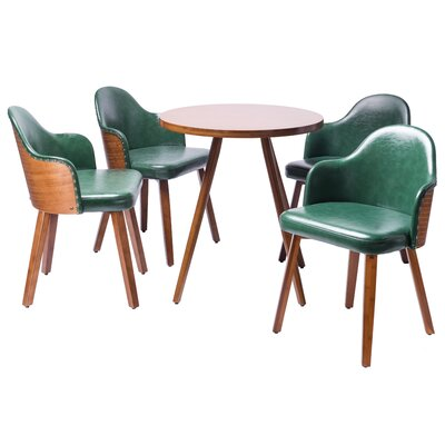 Lindell�5 Piece Dining Set Color: Dark green