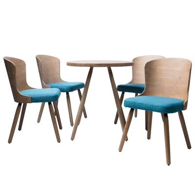 Linde 5 Piece Dining Set Color: Peacock
