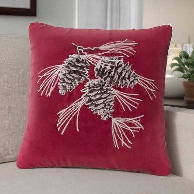 Pine Cone Suede Throw Pillow Color: Red / Brown