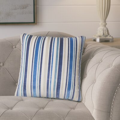 Griffeth Striped Throw Pillow Color: Blue