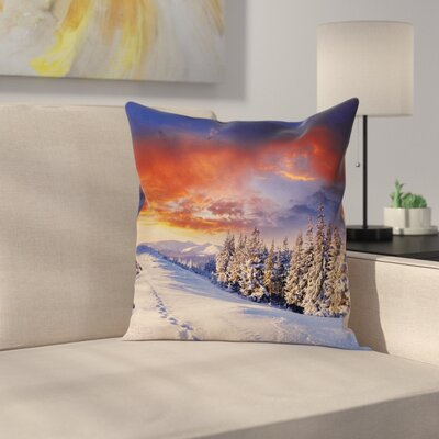 Winter Mountains Pine Trees Square Pillow Cover Size: 16 x 16