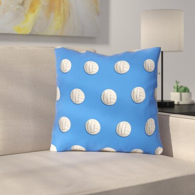 Double Sided Print Down Alternative Volleyball Throw Pillow Size: 18 x 18, Color: Blue