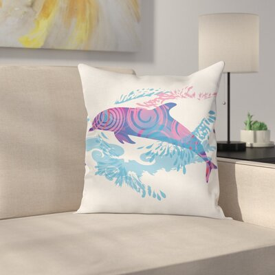 Animal Cartoon Jumping Dolphin Square Pillow Cover Size: 16 x 16