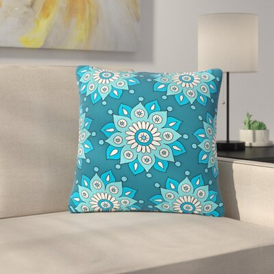 Sarah Oelerich Flower Burst Outdoor Throw Pillow Color: Aqua, Size: 18 H x 18 W x 5 D