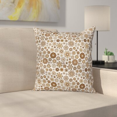 Doodle Flower Motifs Square Pillow Cover Size: 16 x 16