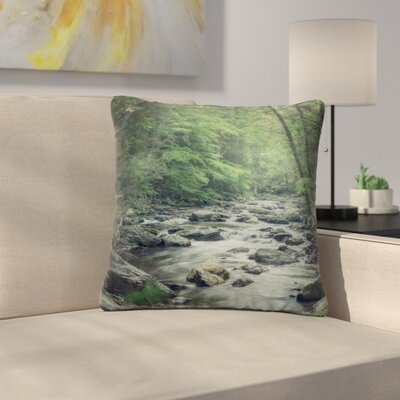 Suzanne Harford Misty Forest Stream Nature Photography Outdoor Throw Pillow Size: 18 H x 18 W x 5 D