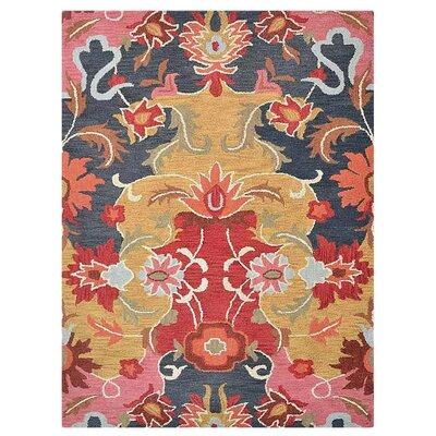 Crayton Floral Hand-Tufted Wool Red/Yellow Area Rug Rug Size: Rectangle 5 x 8