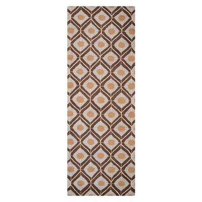 Freida Geometric Hand-Tufted Wool Beige/Brown Area Rug Rug Size: Runner 26 x 8