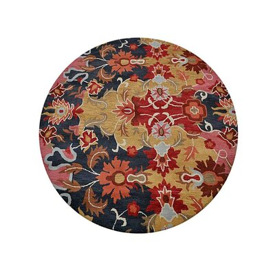 Crayton Floral Hand-Tufted Wool Red/Yellow Area Rug Rug Size: Round 8