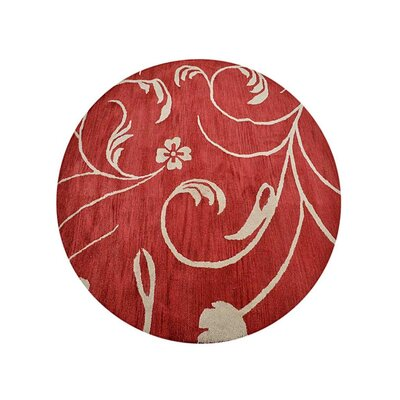 Camptown Floral Hand-Tufted Wool Red/Beige Area Rug