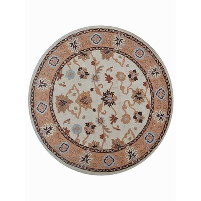 Creamer Vintage Hand-Tufted Wool Cream/Brown Area Rug Rug Size: Round 8