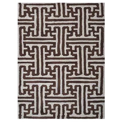 Freida Geometric Hand-Tufted Wool Cream/Brown Area Rug Rug Size: Rectangle 5 x 8