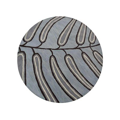 Camptown Floral Hand-Tufted Wool Light Blue Area Rug Rug Size: Round 8