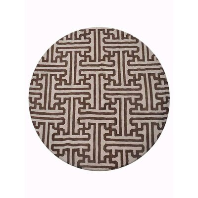 Freida Geometric Hand-Tufted Wool Cream/Brown Area Rug Rug Size: Round 8