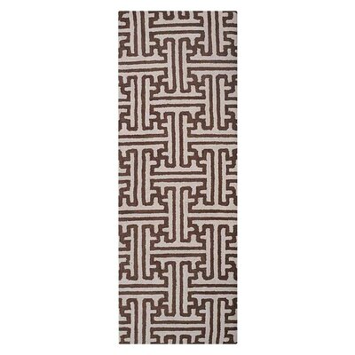 Freida Geometric Hand-Tufted Wool Cream/Brown Area Rug Rug Size: Runner 26 x 8