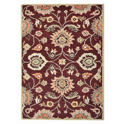 Creamer Vintage Hand-Tufted Wool Maroon Area Rug Rug Size: Rectangle 5 x 8