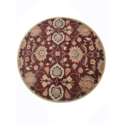 Creamer Vintage Hand-Tufted Wool Maroon Area Rug Rug Size: Round 8
