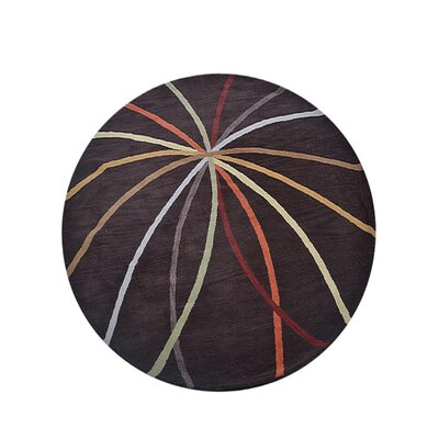 Johansson Geometric Hand-Tufted Wool Brown Area Rug Rug Size: Round 8