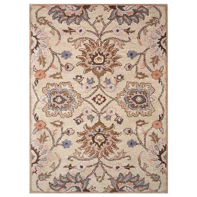 Creamer Vintage Hand-Tufted Wool Cream Area Rug Rug Size: Rectangle 5 x 8